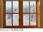 Современное деревянное окно с видом на зимний солнечный день. Стоковое фото, фотограф Татьяна Кахилл / Фотобанк Лори
