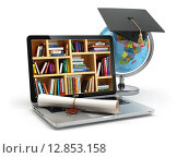 Купить «Education concept. Laptop with books, globe, graduation cap and diploma.», фото № 12853158, снято 25 мая 2018 г. (c) Maksym Yemelyanov / Фотобанк Лори