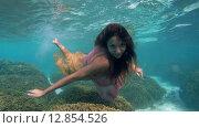 Купить «Молодая красивая девушка позирует под водой в ярком платье над коралловом рифом, Мальдивские острова», видеоролик № 12854526, снято 11 октября 2015 г. (c) Некрасов Андрей / Фотобанк Лори