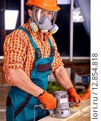Купить «Man in builder helmet .», фото № 12854818, снято 9 ноября 2013 г. (c) Gennadiy Poznyakov / Фотобанк Лори