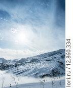 Купить «Ski lifts in Shahdag mountain skiing resort», фото № 12860334, снято 8 февраля 2015 г. (c) Elnur / Фотобанк Лори