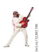 Купить «Arab man with guitar on white», фото № 12861186, снято 18 июня 2015 г. (c) Elnur / Фотобанк Лори