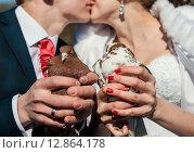 Купить «Голуби в руках на фоне поцелуя жениха и невесты», эксклюзивное фото № 12864178, снято 24 апреля 2015 г. (c) Игорь Низов / Фотобанк Лори