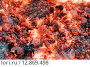 Купить «Красивый костёр с яркими раскалёнными углями», фото № 12869498, снято 3 октября 2015 г. (c) Алексей Маринченко / Фотобанк Лори