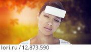 Купить «Composite image of portrait of upset woman with blank note on forehead», фото № 12873590, снято 18 июля 2019 г. (c) Wavebreak Media / Фотобанк Лори