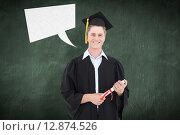 Купить «Composite image of man smiling as he has just graduated with his degree», фото № 12874526, снято 20 августа 2018 г. (c) Wavebreak Media / Фотобанк Лори