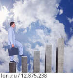 Купить «Composite image of businessman with briefcase walking over white background», фото № 12875238, снято 25 марта 2019 г. (c) Wavebreak Media / Фотобанк Лори