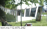 Купить «Фотографии прикреплены прищепками на веревке в парке», видеоролик № 12875242, снято 13 октября 2015 г. (c) Александр Багно / Фотобанк Лори