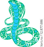 Зеленая орнаментальная змея или кобра. Стоковая иллюстрация, иллюстратор Буркина Светлана / Фотобанк Лори