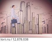 Купить «Composite image of businessman with briefcase walking over white background», фото № 12878038, снято 25 марта 2019 г. (c) Wavebreak Media / Фотобанк Лори
