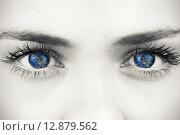 Купить «Composite image of blue eyes on grey face», фото № 12879562, снято 20 августа 2018 г. (c) Wavebreak Media / Фотобанк Лори