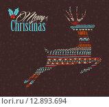 Купить «Merry christmas reindeer boho tribal stripe shape», иллюстрация № 12893694 (c) PantherMedia / Фотобанк Лори