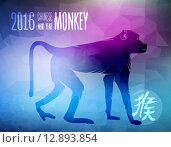 Купить «Happy chinese new year monkey 2016 silhouette ape», иллюстрация № 12893854 (c) PantherMedia / Фотобанк Лори