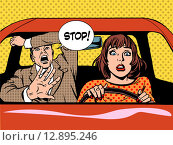 Купить «stop woman driver driving school panic calm», фото № 12895246, снято 24 августа 2019 г. (c) PantherMedia / Фотобанк Лори