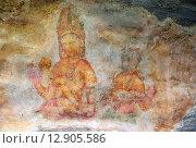 Купить «Sigiriya maiden, древняя фреска на каменной стене, Шри Ланка», фото № 12905586, снято 20 марта 2015 г. (c) Михаил Коханчиков / Фотобанк Лори