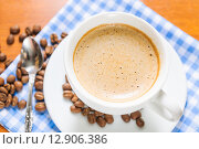 Купить «Cup of cappuccino», фото № 12906386, снято 9 октября 2015 г. (c) Алёшина Оксана / Фотобанк Лори