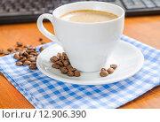 Купить «Coffee beans on a saucer», фото № 12906390, снято 9 октября 2015 г. (c) Алёшина Оксана / Фотобанк Лори