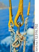 Морской узел на канате на яхте. Стоковое фото, фотограф Anya Stogova / Фотобанк Лори
