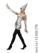 Купить «Woman in silver dress isolated on white», фото № 12920778, снято 12 декабря 2014 г. (c) Elnur / Фотобанк Лори