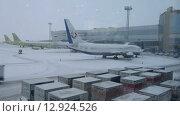 MOSCOW, RUSSIA-January 25, 2014: Domodedovo international airport. The airfield, snow. Редакционное видео, видеограф Mikhail Erguine / Фотобанк Лори