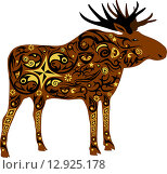 Коричневый орнаментальный силуэт лося. Стоковая иллюстрация, иллюстратор Буркина Светлана / Фотобанк Лори