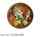 Купить «Russian Cossack fish soup», фото № 12926590, снято 3 сентября 2015 г. (c) Александр Fanfo / Фотобанк Лори
