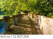 Купить «Набережная пруда Новый Афон, Абхазия», фото № 12927254, снято 7 мая 2015 г. (c) Михаил Кочиев / Фотобанк Лори