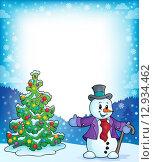 Frame with Christmas tree and snowman 1. Стоковая иллюстрация, иллюстратор Klara Viskova / PantherMedia / Фотобанк Лори