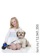 Купить «Little Girl and Her Dog», фото № 12941350, снято 23 октября 2018 г. (c) PantherMedia / Фотобанк Лори