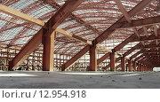 Металлические конструкции. Стадион в стадии строительства. Стоковое фото, фотограф Игорь Яковлев / Фотобанк Лори