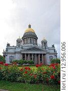Исаакиевский собор в Санкт-Петербурге на фоне красных роз летом (2015 год). Стоковое фото, фотограф Максим Мицун / Фотобанк Лори