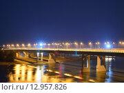 Аксайский мост через реку Дон, Ростов-на-Дону, ночь (2015 год). Редакционное фото, фотограф Станислав Самойлик / Фотобанк Лори