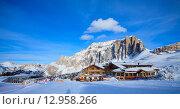 Купить «Вид на горнолыжный курорт в Альпах», фото № 12958266, снято 31 января 2015 г. (c) Донцов Евгений Викторович / Фотобанк Лори