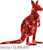 Стилизованный красный кенгуру с цветочным узором. Стоковая иллюстрация, иллюстратор Буркина Светлана / Фотобанк Лори