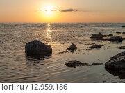 Закат на море. Стоковое фото, фотограф Олег Новожилов / Фотобанк Лори