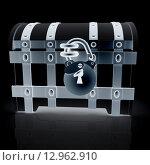 Купить «Черный окованный сундук с висячим замком на черном фоне, вид спереди», иллюстрация № 12962910 (c) Guru3d / Фотобанк Лори