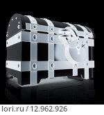 Купить «Черный окованный сундук с висячим замком на черном фоне», иллюстрация № 12962926 (c) Guru3d / Фотобанк Лори