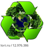Купить «Recycle logo with tree and earth. Eco globe with recycle signs.», фото № 12976386, снято 25 февраля 2020 г. (c) PantherMedia / Фотобанк Лори