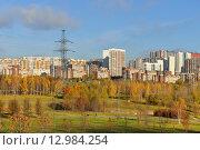 Купить «Золотая осень. Митинский ландшафтный  парк на фоне жилых домов. Москва», фото № 12984254, снято 29 октября 2015 г. (c) Валерия Попова / Фотобанк Лори