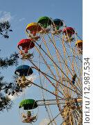 Купить «Разноцветные кабинки колеса обозрения в парке аттракционов города-курорта Геленджика Краснодарского края», эксклюзивное фото № 12987534, снято 11 сентября 2015 г. (c) Наталья Горкина / Фотобанк Лори