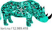 Рисунок зелёного носорога с орнаментами. Стоковая иллюстрация, иллюстратор Буркина Светлана / Фотобанк Лори