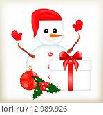Снеговик с подарком. Стоковая иллюстрация, иллюстратор Буркина Светлана / Фотобанк Лори