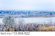 Купить «Морозное утро. Общий вид на деревню», фото № 13004922, снято 7 декабря 2014 г. (c) Валерий Апальков / Фотобанк Лори
