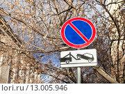 """Купить «Дорожный знак """"Стоянка запрещена"""" и табличка """"Работают эвакуаторы""""», фото № 13005946, снято 5 ноября 2015 г. (c) Victoria Demidova / Фотобанк Лори"""