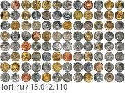 Купить «Фон из монет разных стран», фото № 13012110, снято 24 февраля 2019 г. (c) Евгений Мухортов / Фотобанк Лори