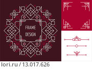 Купить «Art deco set frame abstract geometry mono line», иллюстрация № 13017626 (c) PantherMedia / Фотобанк Лори