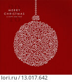 Купить «Merry christmas happy new year outline bauble deco», иллюстрация № 13017642 (c) PantherMedia / Фотобанк Лори