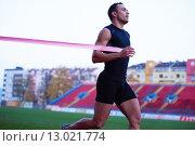 Купить «athletic runner finis line track», фото № 13021774, снято 20 марта 2019 г. (c) PantherMedia / Фотобанк Лори