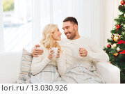 Купить «happy couple at home with christmas tree», фото № 13030926, снято 8 октября 2015 г. (c) Syda Productions / Фотобанк Лори