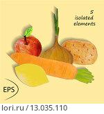 Купить «Свежие овощи и фрукты на желтом фоне. Иллюстрация», иллюстрация № 13035110 (c) Музыка Анна / Фотобанк Лори